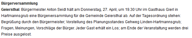 Bürgerversammlung für die Gemeinde Geiersthal